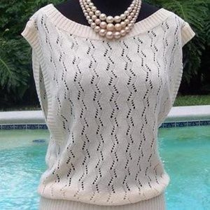 Cache Peek A Boo Crochet Sand Knit Top New $118